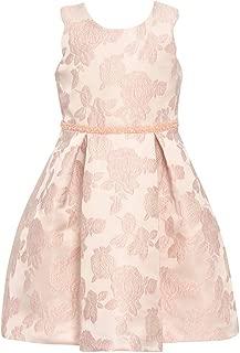 Big Girls Pink Rose Embroidered Knee-Length Easter Dress 7-16