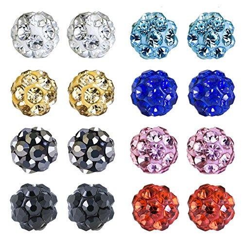 JewelrieShop Rhinestones Crystal Ball Stud Earrings Set Fireball Disco Ball Pave Bead Earrings Hypoallergenic for Teen Girls Women (4mm, 8pairs)