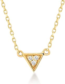 Gelin 14k Solid Gold Triangle Pave 0.03 ct Diamond Station Pendant Chain Necklace 18 Inc