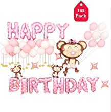Amycute Pink Birthday Party Balloon Set,Pacifier Monkey Foil Balloons, Included Balloon Pump, Transparent Glue, Ribbon for...