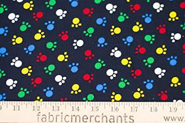 Fabric Merchants Corduroy Paw Prints Fabric by The Yard, Black/Red/Blue 3 Yards