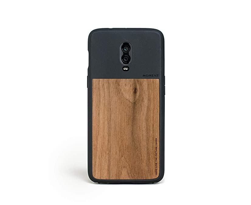 OnePlus 6T Case || Moment Photo Case in Walnut Wood - Thin, Protective, Wrist Strap Friendly case for Camera Lovers.