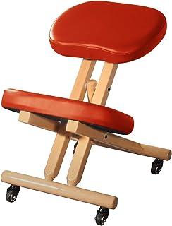 Master Massage 舒适木制跪坐椅姿势厚坐垫座椅办公室和家庭滚轮可调节肉桂颜色