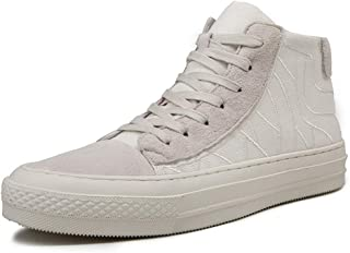 Oap Shoes For Men Comfortable Breathable High Top Board Shoes For Men Genuine Leather Casual Anti-slip Flat Sneakers Lace Up Round Toe dt (Color : White, Size : 42 EU)