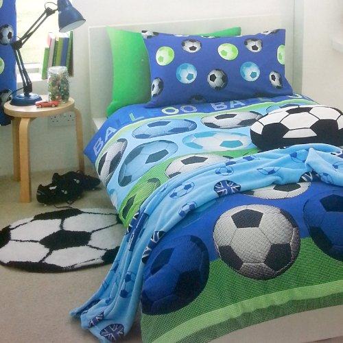 Parure housse de couette superbe motif foot football bleu blanc coton 1 personne