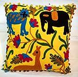 Jaipur Suzani bestickt traditionellen Kissenbezug 16x 16, Animal Print indischen Kissen Outdoor, Tagesdecke dekorativ Kissenbezug, POM POM Kissenhülle Boho Kissenbezug
