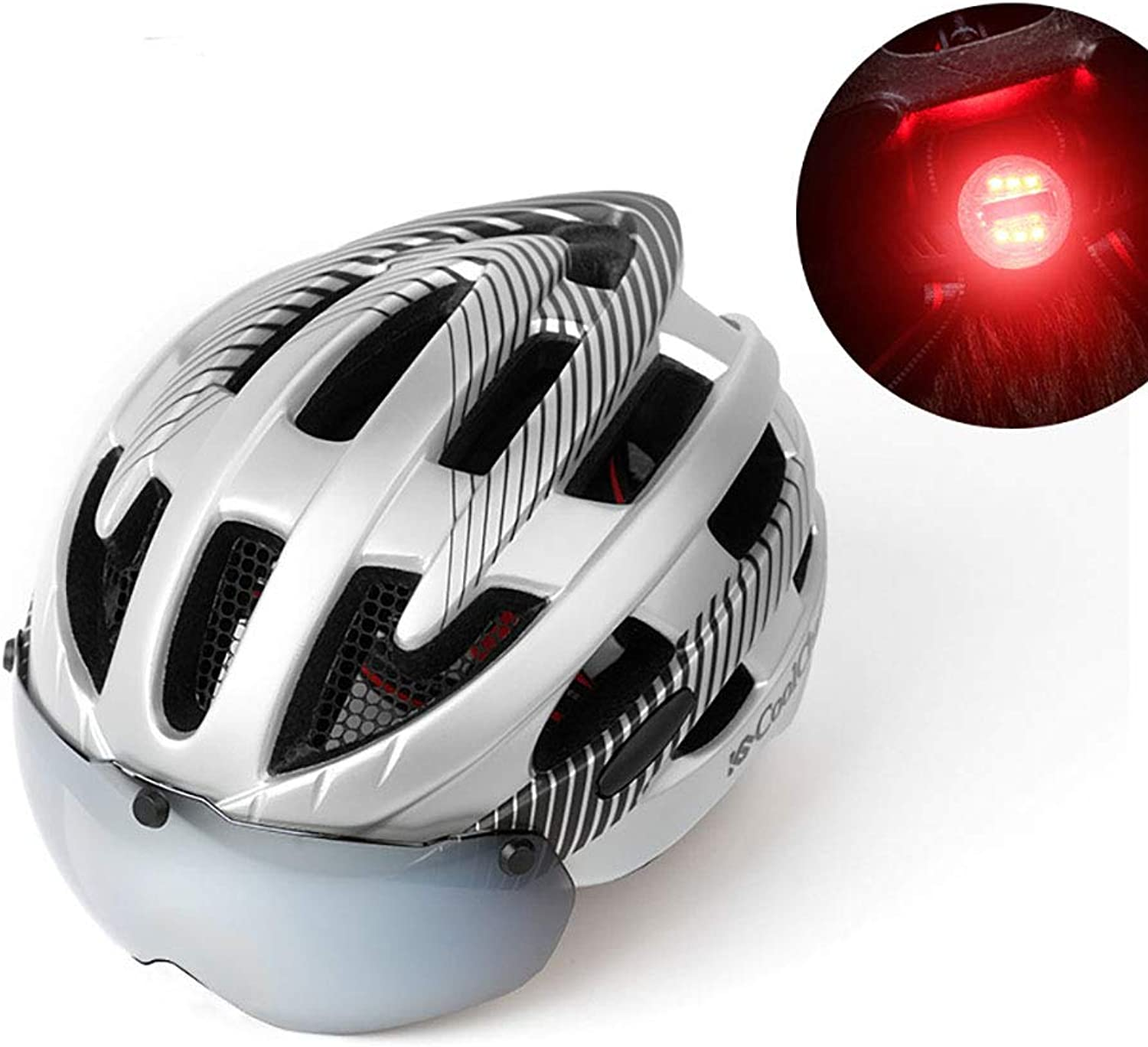 LED Bike Helmet Taillight Warning Magnetic Sunglasses OnePiece Process Breathable Safety Predection Suitable for Road Bike Mountain Cycling Men&Women