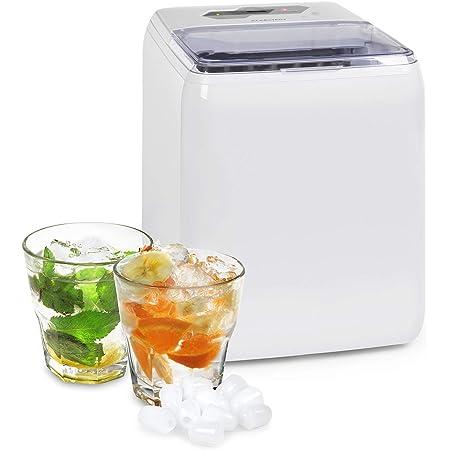 Klarstein Coolio - Machine à glaçons, Glace transparente, 20kg de glace par jour, Réservoir d'eau de 2,8l, Bac collecteur de 2l, AutoClean, Panneau de commande tactile, 2 Tailles des glaçons, Blanc