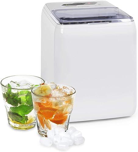 Klarstein Coolio - Machine à glaçons, Glace transparente, 20kg de glace par jour, Réservoir d'eau de 2,8l, Bac collec...