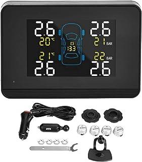 Akozon TPMS Auto Reifendrucksystem mit 4 externen Sensoren U906C WF LCD Zigarettenanzünder USB Doppelte Ladung