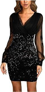 Padaleks Women's Dresses V Neck Mesh Long Sleeve Glitter Bodycon Sequin Cocktail Party Club Evening Mini Dress