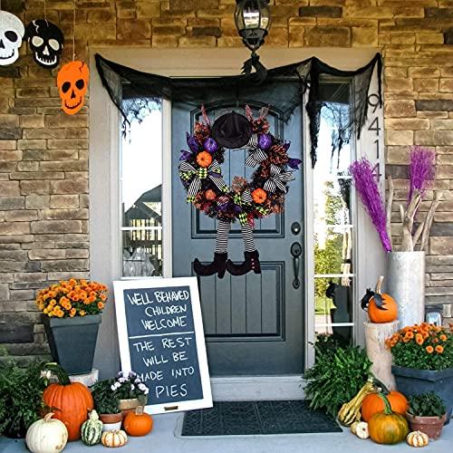 24 Inch Witch Halloween Wreath with Hat Legs Pumpkin Door Wreath, Artificial Maple, Pumpkin Wreath for Halloween Decorations