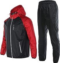 Mannen Zweet Sauna Pak Running Fitness Zweten Sportkleding Lichtgevende Hooded met Zakken Jas Broek