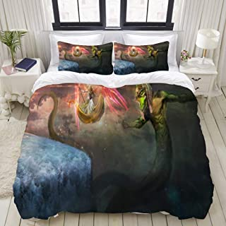 """Mokale Bedding Duvet Cover 3 Piece Set - Mythical Snake - Decorative Hotel Dorm Comforter Cover with 2 Pollow Shams - Full 80""""x90"""""""