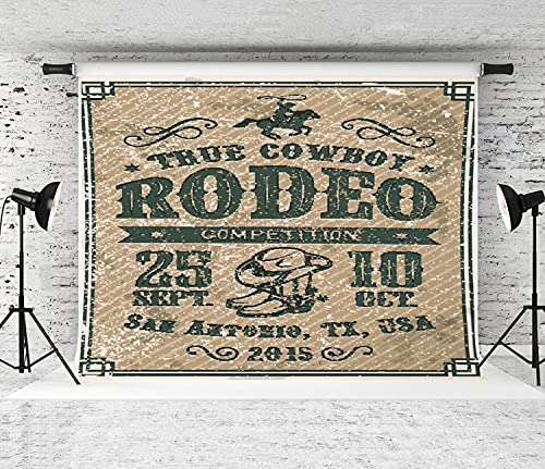 ZOANEN Photography Background,American Cowboy Rodeo Poster with Typography and Vintage Paper,Party Decoration Banner Photo Booth Backdrop for Studio Props(7x5FT)