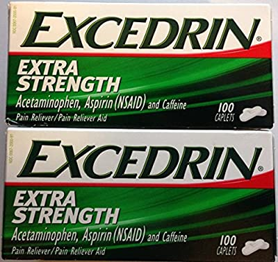Excedrin Extra Strength Caplets - 100 Count - Acetaminophen, Aspirin (NSAID), & Caffeine - Pack of 2