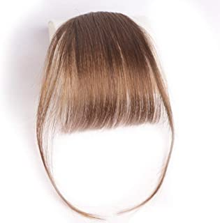 Clip in Air Bangs 100% Human Hair Extensions with Temples Clip on Hairpiece Accessories Flat Fringe Hand Tied thin Bangs for Women(Light Brown)
