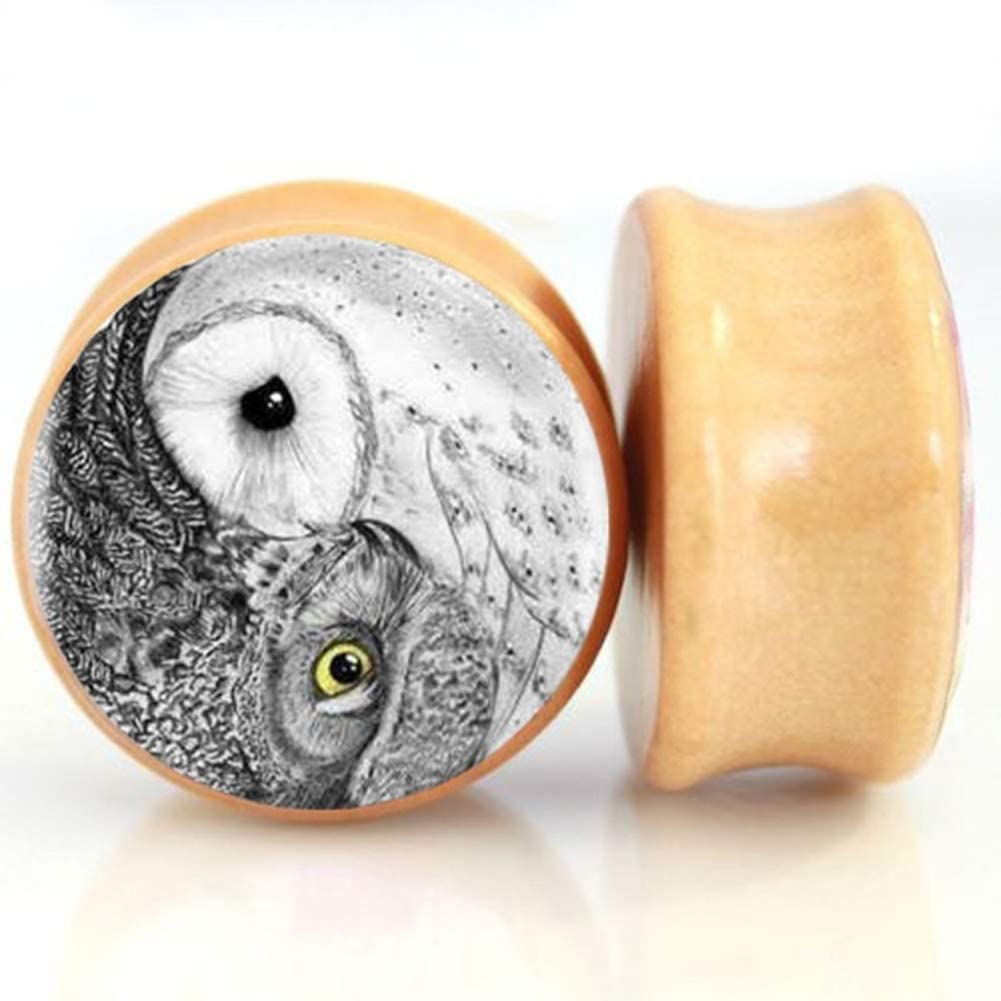 SERYNOW Owl Wood Ear Gauges Plugs and Tunnels 8mm-25m Ear Stretcher Expander Saddle Plug Piercing Jewelry