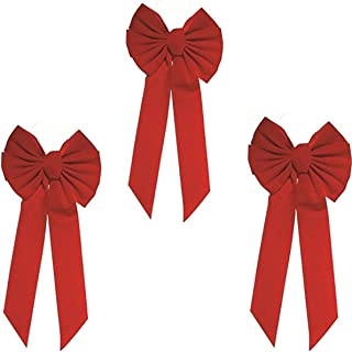 Rocky Mountain Goods Red Bow - Christmas Wreath Bow - Great for Large Gifts - Indoor/Outdoor use - Hand Tied in USA - Waterproof Velvet - Attachment tie Included for Easy Hanging (20-Inch 3 Pack)