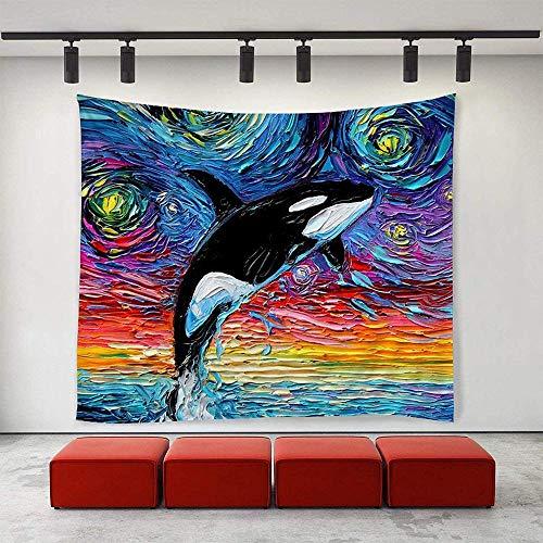 QIAO Art Tapisserie Tischdecke Tagesdecke Van Gogh Dophin Ölgemälde Wandteppiche Exotic Fantasy Umweltfre&liches Dekor Wandteppich Wandbehang Wohnkultur Extra große Tischdecken