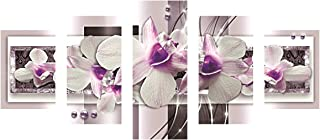 SuperDecor 5D DIY Diamond Painting Diamond Painting 5 Panels Full Drill for Adults White Flowers Purple Pearl White Purple