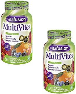 Vitafusion MultiVites Gummies Vitamins for Adults Berry, Peach and Orange - 150 ct, Pack of 2