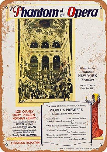 YASMINE HANCOCK Phantom of the Opera Blechschild, Retro, Shabby Chic, Metallposter zum Aufhängen, Dekoration, Souvenir, Wandkunst, Retro-Dekoration