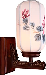 MX Light Fixture Wall Lamp Modern Antique Chinese Solid Wood Carved Hand-Painted Lampshade Living Room Single-Headed Wall ...