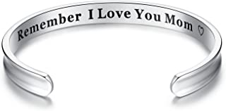 Remember I Love You Mom' Cuff Bangle Bracelets from Mom and Daughter Birthdays