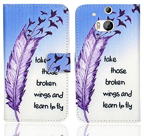 HTC One M8 / M8s Handy Tasche, FoneExpert® Wallet Case Flip Cover Hüllen Etui Ledertasche Lederhülle Premium Schutzhülle für HTC One M8 / M8s (Pattern 7)