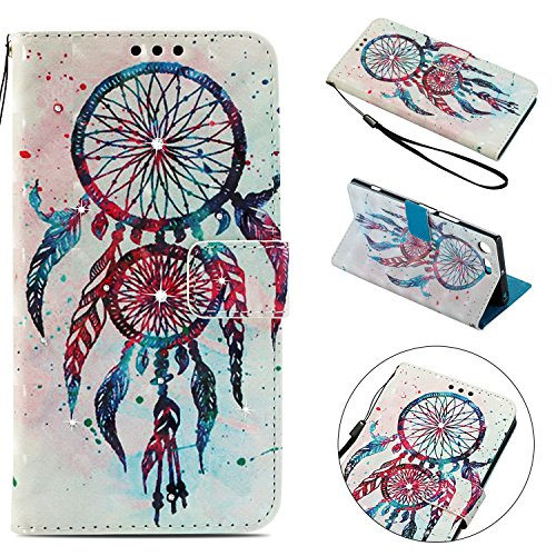 Sony Xperia XZ Premium Case, Shockproof 3D Handmade Bling Sparkly Diamonds PU Leather Flip Wallet Phone Case with Magnetic Card Holder Slot Silicon Back Cover for Sony Xperia XZ Premium Dream Catcher
