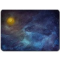 バスマット 玄関マット 足ふきマット,夜空の星月の水彩画,滑り止め ソフトタッチ 丸洗い 洗濯 台所 脱衣場 キッチン 玄関やわらかマット 50 x 80cm