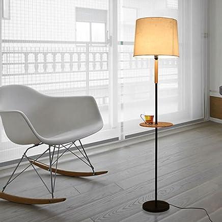 Floor lamp.. ASL Fu�boden-Lampen-kreatives Schlafzimmer-Wohnzimmer-vertikale Lampe Moderne minimalistische Studie der Massivholz-Tee-Tabellen-Tuch-Stehlampe Kredit (Farbe : Schwarz)