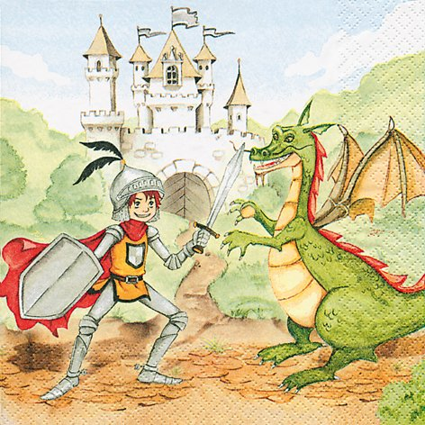 20 servetten Training your Dragon - Riddergevecht/Ridder/Draken/Kinderverjaardag 33x33cm