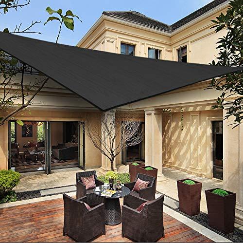 HENG FENG Toldo Vela de Sombra Triangular 3 x 3 x 3 m Protección Rayos UV Solar Protección HDPE Transpirable Aislamiento de Calor para Dar Sombra a su Jardín Color Antracita