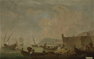 The Polyster Canvas Of Oil Painting 'Sanchez Mariano Ramon Vista De Barcelona Por El Este Ca. 1787 ' ,size: 24 X 38 Inch / 61 X 96 Cm ,this High Quality Art Decorative Canvas Prints Is Fit For Bathroom Decoration And Home Decoration And Gifts