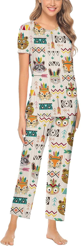 Tribal Animals Faces Night Owl Womens Pajamas Set Long Sleeve Tops & Pants Essentials Round Collar 2pcs Printed Sets Sleepwear XS-XXL