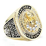 WIBBLY Titanium Steel Men's Lakers 2016 Kobe Championship Diamond Rings,Size 9