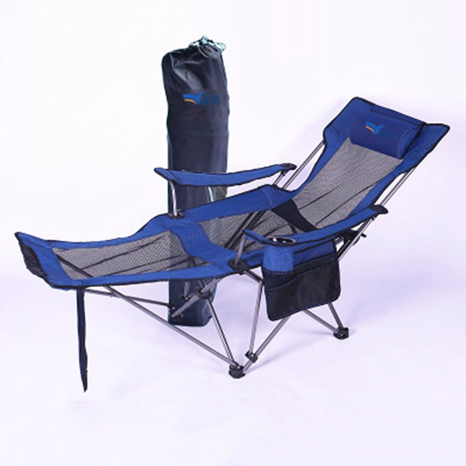 Folding Chairs Outdoor Folding Chair Napping Recliner Bed Siesta Chair Portable Leisure Chair backrest Fishing Chair Camping Beach Recliner 168  62  35cm (color   bluee)