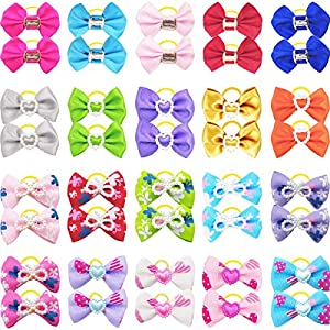 40PCS/20 Pairs Dog Hair Bows Small Dog Bowknot with Rubber Bands Pet Hair Bows Ties Dogs Cats Pet Grooming Accessories