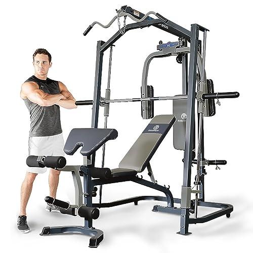 Marcy doméstica de Prensa Gym Multi con Banco de Pesas Smith Máquina de, Negro,