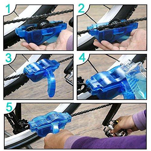 JTENG Fahrrad Kettenreinigungsgerät,Reinigung Scrubber Pinsel-Werkzeug im Set mit Ritzelbürste,2 Paar Latexhandschuhe,Schnelles sauberes Kettenreiniger Werkzeug Fahrrad Kettenreinigung - 3