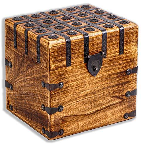 Cofre del tesoro 20 x 20 x 17,5 cm, madera maciza, color marrón
