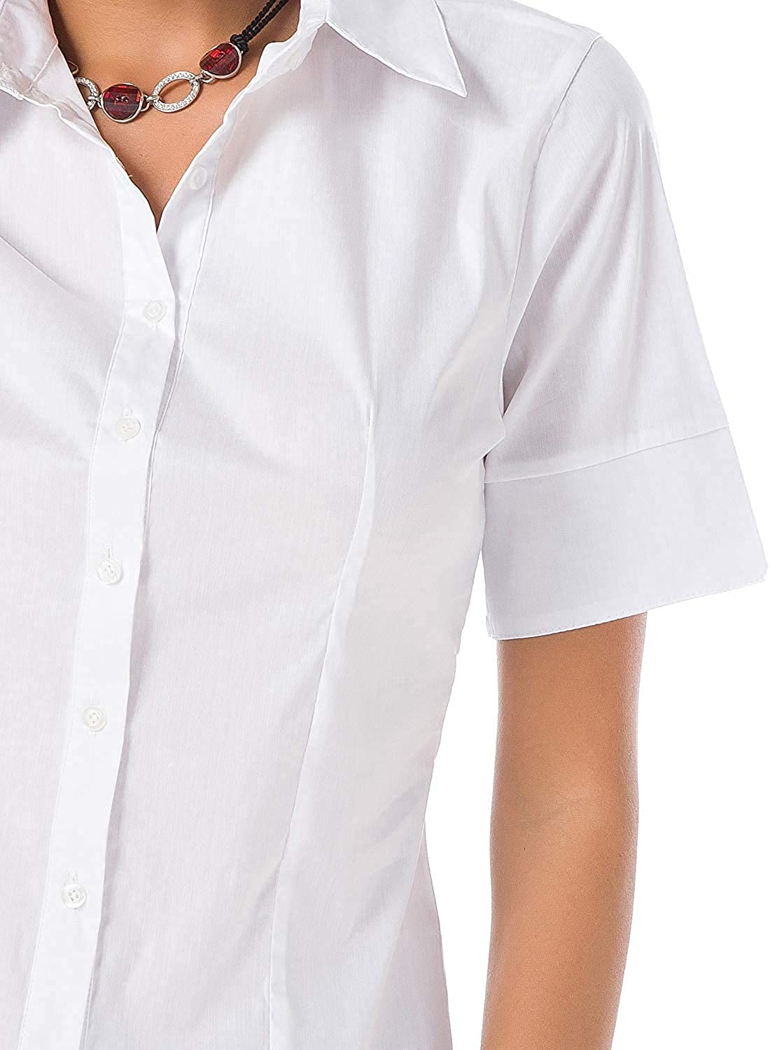 Atnlewhi Womens Basic Button Down Shirts Cotton Simple Short Sleeve Stretch Formal Casual Blouse