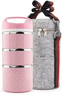 ZHNONE Portable Cute Stainless Steel Insulation Lunch Bento Box Food Carrier Container with Lunch Bag, 1-3 Layer-(Pink,3 Layer)