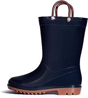 أحذية المطر للأطفال الأولاد والبنات مع مقابض سهلة الارتداء أحذية المطر (طفل صغير/طفل كبير)