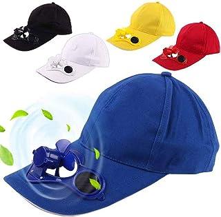 Kongqiabona-UK Pesca Deportiva de Verano Sombreros al Aire Libre Gorras con Ventilador Solar de enfriamiento Solar para Ciclismo Ahorro de energía sin batería Azul