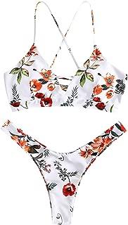 Floral High Leg Lace Up Bikini Set