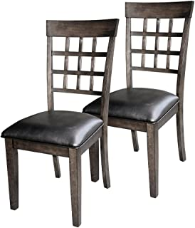A-America Bristol Point Grid Back Dining Side Chair - Warm Gray - Set of 2