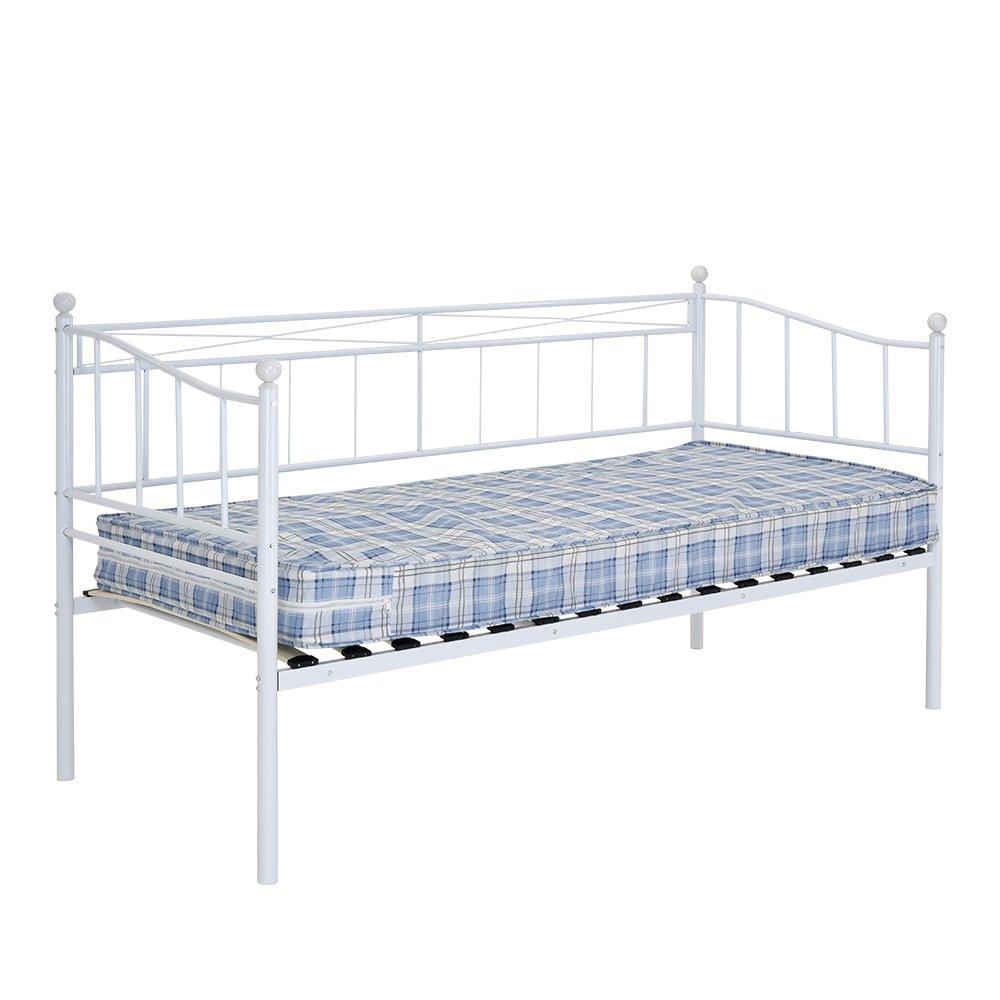 Somier de cama blanca diurna de metal de 79 cm con cama nido inferior negra de 91,44 cm para adultos y niños, para dormitorio, Blanco, 3FT Daybed Only